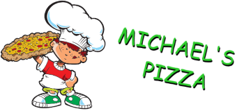 michaels pizza logo with text